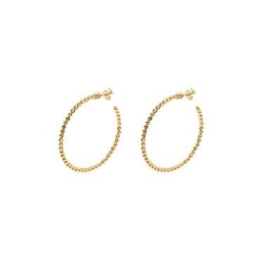 Officina Bernardi 18k Yellow Gold Classic Moon Diamond Hoop Earrings