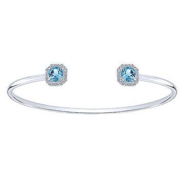14k White Gold Gabriel & Co. Diamond Swiss Blue Topaz Bangle Bracelet