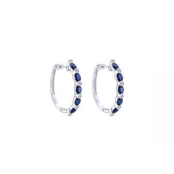 14k White Gold Gabriel & Co. Blue Sapphire Diamond Earrings