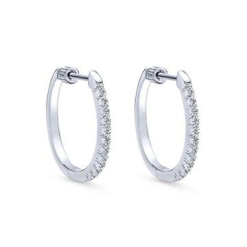 14k White Gold Gabriel & Co. Diamond Hoop Earrings