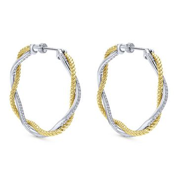 14k Two Tone Gold Gabriel & Co. Diamond Hoop Earrings