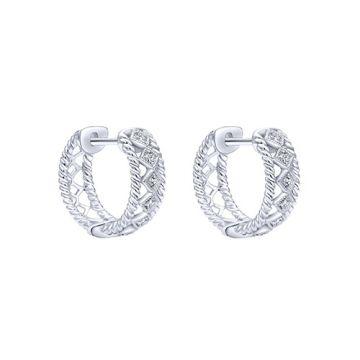14k White Gold Gabriel & Co. Diamond Huggie Earrings