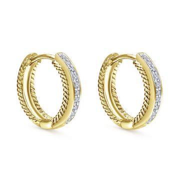 14k Yellow Gold Gabriel & Co. Diamond Huggie Earrings