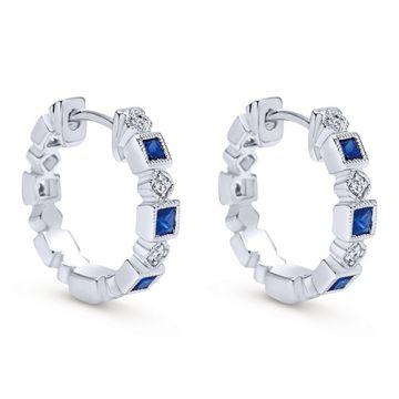 14k White Gold Gabriel & Co. Diamond Blue Sapphire Huggie Earrings