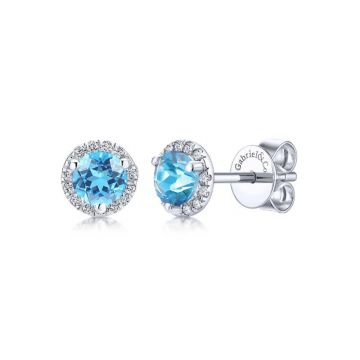 Gabriel & Co. 14k White Gold Lusso Color Gemstone & Diamond Stud Earrings