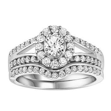 SBT Imports Mia Stellina 14k White Gold Diamond Oval Wedding Set