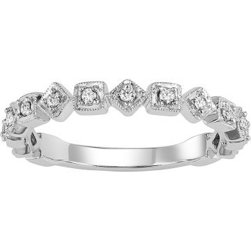 SB&T Imports 14k White Gold Stackable Diamond Ring
