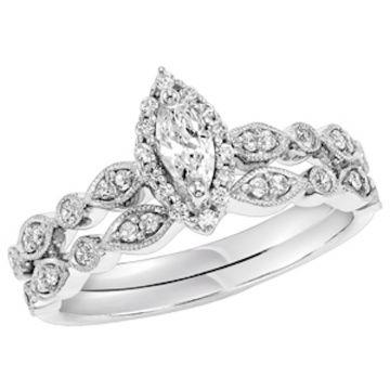 SBT Imports Mia Stellina 14k White Gold Diamond Marquise Wedding Set