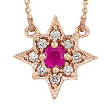 SB&T Imports 14k Rose Gold Diamond & Gemstone Necklace