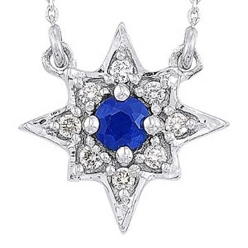 SB&T Imports 14k White Gold Diamond & Gemstone Necklace
