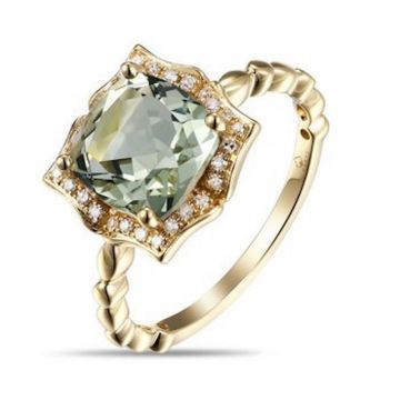 Luvente 14k Yellow Gold Diamond and Gemstone Ring
