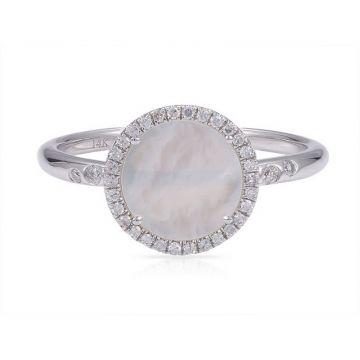Luvente 14k White Gold Diamond and Gemstone Ring