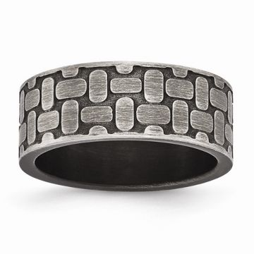 Chisel Stainless Steel Brushed Antiqued Textured Men's Ring