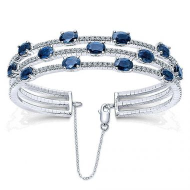 14k White Gold Gabriel & Co. Diamond And Sapphire Bangle Bracelet