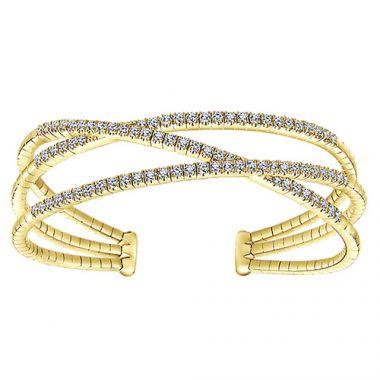 14k Yellow Gold Gabriel & Co. Diamond 3 Row Criss Cross Bangle Bracelet