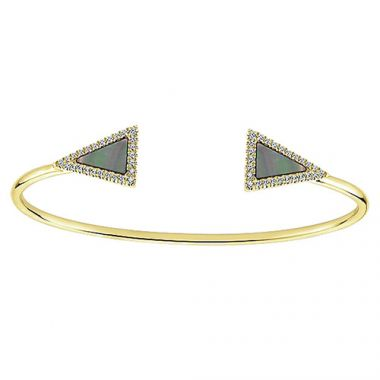 14k Yellow Gold Gabriel & Co. Mother of Pearl and Diamond Bangle Bracelet