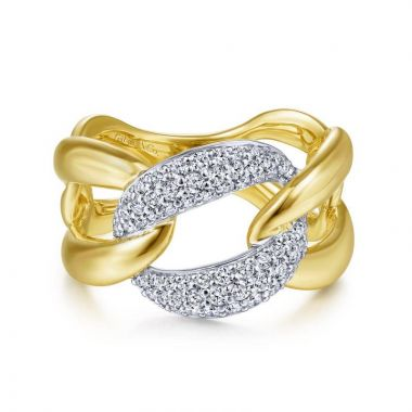 Gabriel & Co. 14k Two Tone Gold Contemporary Diamond Ring