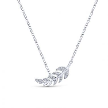 Gabriel & Co. 14k White Gold Floral Diamond Necklace