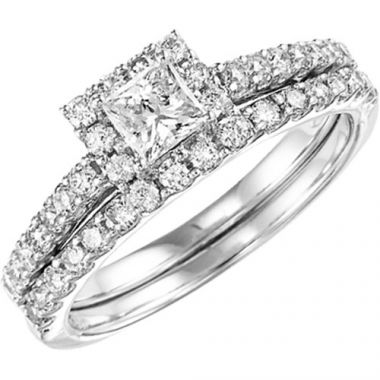 SBT Imports Mia Stellina 14k White Gold Diamond Princess Wedding Set