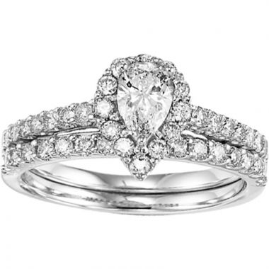 SBT Imports Mia Stellina 14k White Gold Diamond Pear Wedding Set