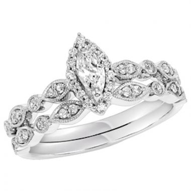 SBT Imports Mia Stellina 14k White Gold Diamond Marquise Wedding Set