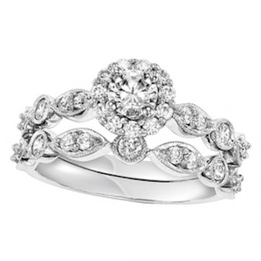SBT Imports Mia Stellina 14k White Gold Diamond Round Wedding Set