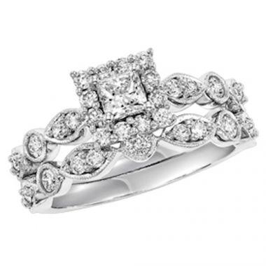 SBT Imports Mia Stellina 14k White Gold Diamond Princess Wedding Set