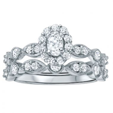 SB&T Imports 14k White Gold  Wedding Set
